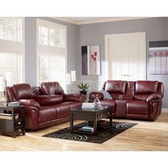 Shop Magician DuraBlend Contemporary Garnet Slate Fabric Living Room Set with great price, The Classy Home Furniture has the best selection of to choose from Burgundy Couch, Burgundy Living Room, Living Room Red, Living Room Sofa, Living Room Furniture, Living Room Decor, Living Area, Red Burgundy, Couch And Loveseat Set
