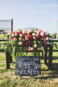 Happily ever after sign from a Kate Spade Inspired Jackson Tennessee Wedding - photo by Teale Photography - midsouthbride.com