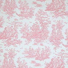 Premier Prints Jamestown Baby Pink White Toile Home Decorating Fabric