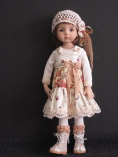 "Red Cream Boho 5pc Set Handmade OOAK for 13"" Effner Little Darling BJD by JEC 