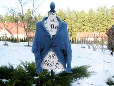 Knitted Cardigan gray-blue cocoon Oversized Cardigan  soft cozy stylish Knit Vest blanket cardigan Scarf Shawl transformer by PonchoShawlScarves on Etsy