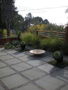 concrete patio stone and pea gravel modern back yard - Google Search | GARDEN | Pinterest | Concrete patios, Backyards and Stone driveway