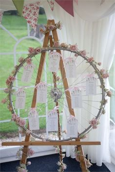 Unique wedding table plan displayed on a bicycle wheel