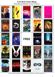 Teen Book Jacket Bingo - Might be a nice idea for IR next year...maybe a quarterly fun game for students to earn smarties.  Book Bingo would be great morning show next year. Announce a new book every day and give a prize to the winning homeroom.