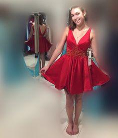 3252bd5cec Cute V Neck Short Red Homecoming Dress, Krótkie Sukienki