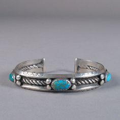 Navajo Silver Bracelet with Three Turquoise Cabochons, - Vintage Silver Navajo and Turquoise Bracelet, circa 1940 - Turquoise Rings, Turquoise Bracelet, Vintage Turquoise Jewelry, American Indian Jewelry, Silver Bracelets, Silver Earrings, Silver Ring, Earrings Uk, Bohemian Jewelry
