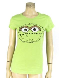 Oscar the Grouch T-shirt Green Cotton Distressed Print Tee Cap Sleeves Juniors $8.88