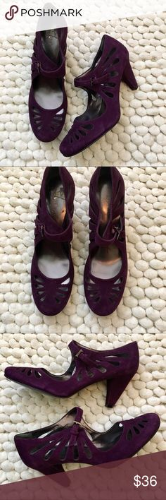 """Nine West eggplant suede cut out Mary Jane heels 8 Nine West purple suede cut out Mary Jane heels size 8. Never worn. Heel is approximately 3"""". Nine West Shoes Heels"""