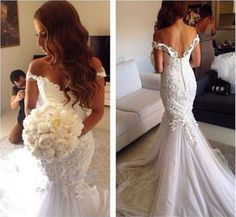 New Off Shoulder Backless Mermaid Wedding Dresses Tulle Sweetheart Bridal Gowns