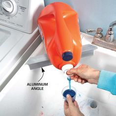 Dripless liquid detergent containers always drip just a little. Keep it under control with a special shelf on the corner of the laundry tub. Just cut a 1-1/2-in. aluminum angle long enough to support the front edge of the container, then glue it to the tub with silicone caulk. Rest the container on the ledge and drips will just fall into the laundry tub instead of creating a gooey mess somewhere else.