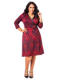 Pleather Trimmed Chevron Patterned Wrap Top Dress - Ashley Stewart