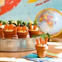 baby shower idea (peter rabbit theme) Carrot Patches- humus, baby carrots, and parsley. Could use ranch dressing to. All in mini pots. Peter Rabbit.