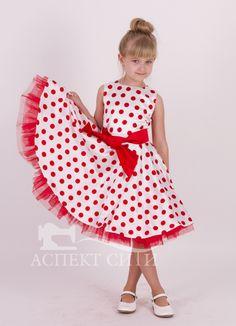 cdb970fe3 Нарядное платье для девочки Аспект-Сити Платье Стиляги №4 в горошек  (платье, пояс), цвет белый-красный - купить в интернет магазинах Москвы по  лучшей цене.