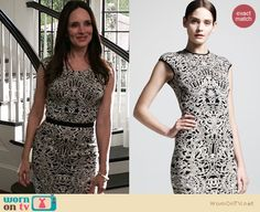 Victoria's black and white baroque print dress on Revenge. Outfit Details: http://wornontv.net/19694 #Revenge #ABC