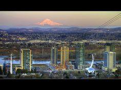 Portland, Oregon view from OSHU looking east toward Mt. Hood