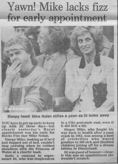 Today's Memory of Diana is from November 1987. Princess Diana met singer Mike Nolan from the pop group  'Bucks Fizz' at a charity bash for sick and disabled children.  Singer Mike who fought his way back to health after a road crash in 1984 was among a host of celebrities who were waving goodbye to 300 sick and disabled children who were flying off for a dream holiday at Disneyland. Princess Of Wales, Princess Charlotte, Princess Diana, Karen Spencer, Charles Spencer, Mike Nolan, Trivia Of The Day, Lady Sarah Mccorquodale