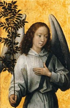 Angel Holding an Olive Branch - Hans Memling