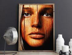 Wooden  Printable Art Naturemorphosis Face of a von naturemorphosis