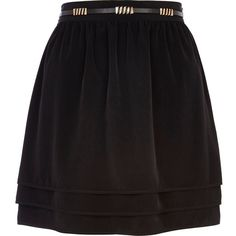 River Island Black tiered skater skirt (€14) ❤ liked on Polyvore featuring skirts, jupe, river island, sale, river island skirts, circle skirt, waist belt, flared skirts and skater skirt