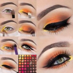 schminktipps augen, make-up in orange, gelb und braun, bunte lidschatten women beauty and make up Orange Eye Makeup, Yellow Makeup, Yellow Eyeshadow, Colorful Eyeshadow, Eyeshadow Makeup, Makeup Brushes, Eyeliner, Summer Eyeshadow, Drugstore Makeup