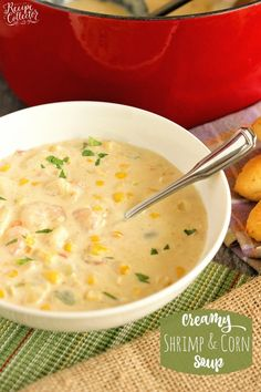 Creamy Shrimp & Corn Soup - A creamy Cajun-flavored soup filled with shrimp, corn, and potatoes and ready in about 30 minutes. It's a great soup for company too! Creamy Shrimp & Corn Soup Diary of a Recipe Collector jarendubois *Pin Your Best Recip Corn Soup Recipes, Shrimp Recipes, Crockpot Recipes, Cooking Recipes, Chowder Recipes, Top Recipes, Shellfish Recipes, Supper Recipes, Entrees