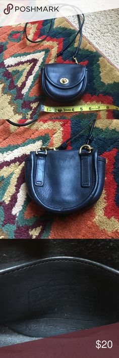 """Vintage Coach mini cross body bag in black Good used condition Coach mini cross body bag.  Perfect for lipstick, keys, money and ID and ready to go.  Strap measures 48"""".  I do not have the black coach tab any longer. Coach Bags Crossbody Bags"""