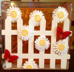 "Sale - DAISIES & BUTTERFLIES on Picket Fence - 6"" Lighted Glass Block"
