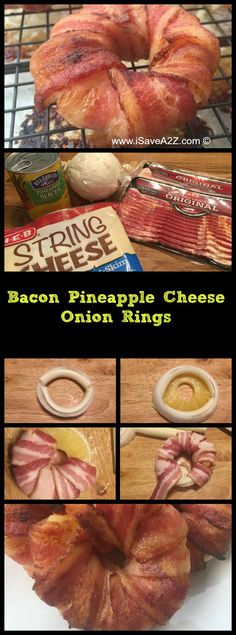 BEST Appetizer EVER!!!  Bacon Pineapple Cheese Onion Rings Recipe