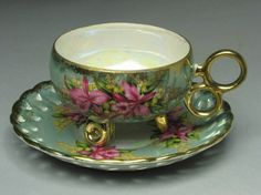 Fabulous -- gorgeous ---- 3 footed TEACUP  -- Vintage Lace pattern with lovely pink orchard design - ROYAL HALSEY Fine China