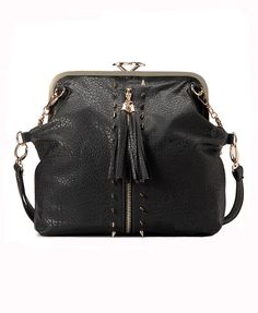Spiked Leather Bag with Tassel Pull Zip and Kiss Clasp Fastening