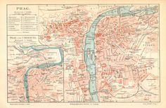 1897 Antique City Map of Prague in the 19th Century