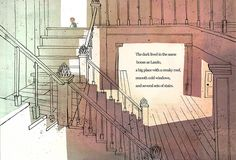 An illustration from The Dark by Lemony Snicket. It is illustrated by John Klassen.  Klassen's illustrations for this book works.  His drawings give off a sense of eeriness since the main character is afraid of the dark. (Macy Roberts)