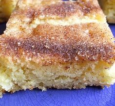 TRIED IT! snickerdoodle bars--these are sooo good! I forgot to add the sour cream, and I even oberbaked them a little by accident, and they were still really good--must make again