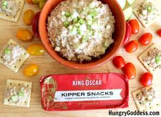 When I livedin the UK, if someone said kippers, I thought breakfast. Now that I am living in Florida, if someone says smoked fish (kippers are split and smoked herring), I think DIP. My tasty challenge from King Oscar for this go-around was their delectable, smoky kippers and I couldn't do just one recipe. My