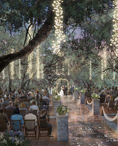 Outdoor Wedding Ceremonies lighting event wedding party romantic outdoors see a little lighting outside is pretty it can be taken down the next day - Wedding Themes, Wedding Events, Wedding Ceremony, Outdoor Ceremony, Wedding Columns, Wedding Table, Wedding Photos, Perfect Wedding, Dream Wedding