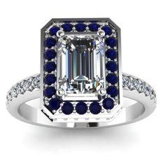 Emerald Cut Blue Sapphire Pave Diamond Engagement Ring