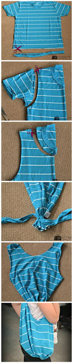 No-Sew T-shirt bag photo tutorial