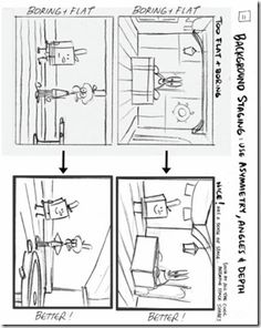 Background Staging and Drawing Tips by Sherm Cohen  - Use asymmetry angles and depth to draw well-staged backgrounds for your characters and scenes