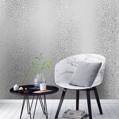 Leopard Print Effect Wallpaper Silver - Wallpaper from I Love Wallpaper UK Wallpaper Uk, Silver Wallpaper, Leopard Print Wallpaper, Girls Bedroom, Accent Chairs, Colours, Living Room, Furniture, Metallic