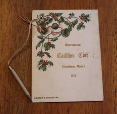 Antique 1912 Morristown Cotillion Club Christmas Dance Wootens Orchestra Card