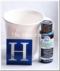 DIY Monogrammed Mugs... or ANYTHING. Just use Enamels Acrylic Paint & Bake! Love this!