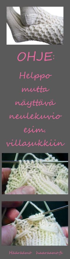 Neuleohje: lyhde, smokkineule, rypytetty joustinneule - rakkaalla lapsella on… Diy Crochet And Knitting, Crochet Socks, Lace Knitting, Knitting Stitches, Knitting Socks, Knitting Patterns, Crochet Patterns, Knitting For Charity, Yarn Crafts