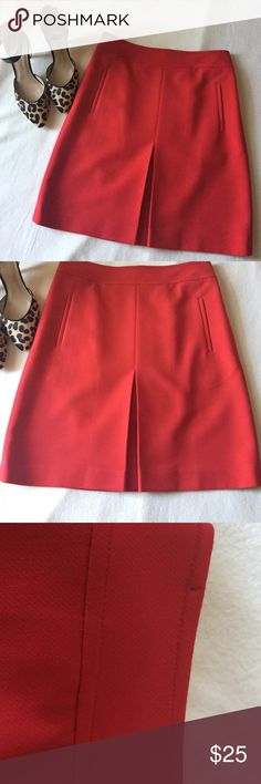 Anne Taylor Loft Skirt Reddish orange Aline skirt,side pockets & pleat in middle of front.Closure on back zip & hook.Fabric 66% polyester 29% rayon & 5 spandex.size 2 petite.skirt has minor flaws,very tiny stain on back in pic#4 & dry cleaner left marks where skirt was hanging on hanger w/pins see pic#3.not worn after being dry cleaned.Smoke free home LOFT Skirts A-Line or Full