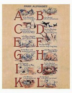 Lilac & Lavender - 1917 Farm Alphabet A-L Vintage Labels, Vintage Ephemera, Vintage Paper, Vintage School, Vintage Farm, Vintage Books, Vintage Pictures, Vintage Images, Alphabet And Numbers