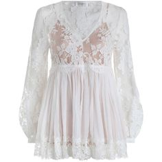 ZIMMERMANN Lavish Lace Blouse ($895) ❤ liked on Polyvore featuring tops, blouses, sheer sleeve blouse, v neck lace camisole, sheer camisole, lace cami top and lace top