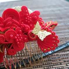 Chinese wedding hair comb red vintage golden by ShineHandmadebyJW, $39.90