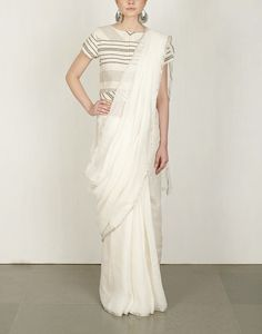 Basic White linen Saree-Anavila- img4
