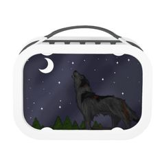 Howling Wolf Lunch Box #wolves #night #moon #animals #dogs