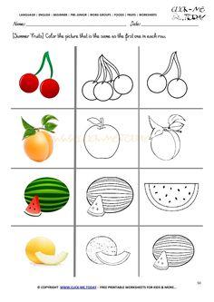 Fruits Worksheet 50 - Color the same summer fruit