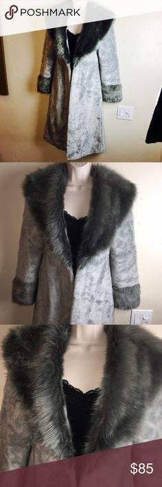 Blanc Noir EPIC Soft Grey Faux Fur Long Coat This coat is insanely cool with two tone Grey Faux fur and big fluffy collar and cuffs. It's in great condition, just a couple little spots as shown that could be easily washed. There is no closure, it's an open Coat but you could easily install a hook and eye closure if you wanted. Perfect for costumes, role playing, burning man or just being fabulous every day! Make me an offer! Xo blanc noir Jackets & Coats